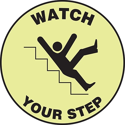 Accuform Signs® Slip-Gard™ WATCH YOUR STEP Round Floor Sign, Black/White, 8Dia., 1/Pack