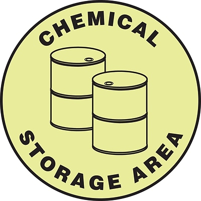 Accuform Signs® Slip-Gard™ CHEMICAL STORAGE Round Floor Sign, Black/Yellow, 17Dia., 1/Pack