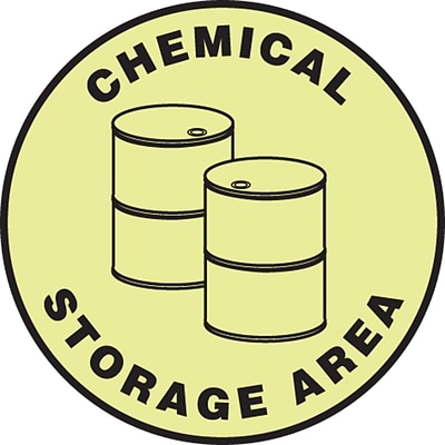 Accuform Signs® Slip-Gard™ CHEMICAL STORAGE AREA Round Floor Sign, Black/Yellow, 8Dia., 1/Pack (MFS878)