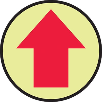 Accuform Signs® Slip-Gard™ Arrow Pictorial Round Floor Sign, Red/Yellow, 8Dia., 1/Pack