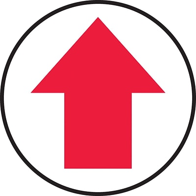 Accuform Signs® Slip-Gard™ Arrow Pictorial Round Floor Sign, Red/White, 17Dia., 1/Pack