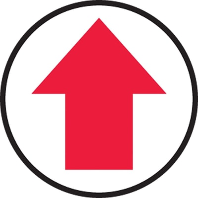 Accuform Signs® Slip-Gard™ Arrow pictorial Round Floor Sign, Red/White, 8Dia., 1/Pack