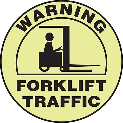 Accuform Signs® Slip-Gard™ WARNING FORKLIFT TRAFFIC Round Floor Sign, Black/Yellow, 17Dia., 1/Pack
