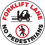 Accuform Signs® Slip-Gard™ FORKLIFT LANE NO PEDESTRIANS Round Floor Sign, Black/Red/White, 17Dia.