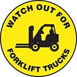 Accuform Signs® Slip-Gard™ WATCH OUT FOR FORK LIFT TRAFFIC Round Floor Sign, Black/Yellow, 17Dia.
