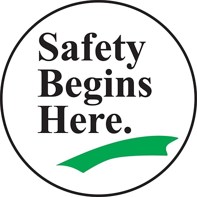 Accuform Signs® Slip-Gard™ SAFETY BEGINS HERE Round Floor Sign, Black/Green/White, 8Dia., 1/Pack