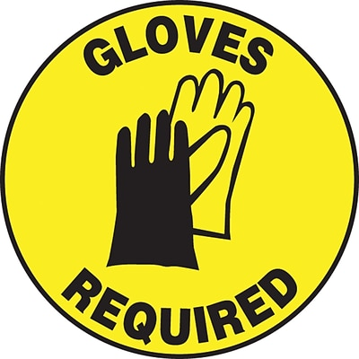 Accuform Signs® Slip-Gard™ GLOVES REQUIRED Round Floor Sign, Black/Yellow, 8Dia., 1/Pack