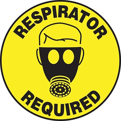 Accuform Signs® Slip-Gard™ RESPIRATOR REQUIRED Round Floor Sign, Black/Yellow, 8Dia., 1/Pack (MFS315)