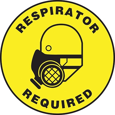 Accuform Signs® Slip-Gard™ RESPIRATOR REQUIRED Round Floor Sign, Black/Yellow, 17Dia., 1/Pack (MFS0817)
