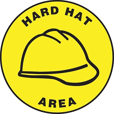 Accuform Signs® Slip-Gard™ HARD HAT AREA Round Floor Sign, Black/Yellow, 17Dia., 1/Pack (MFS1317)