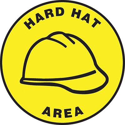 Accuform Signs® Slip-Gard™ HARD HAT AREA Round Floor Sign, Black/Yellow, 8Dia., 1/Pack (MFS1308)