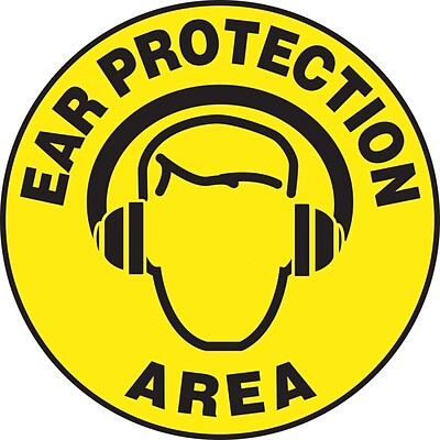 Accuform Signs® Slip-Gard™ EAR PROTECTION AREA Round Floor Sign, Black/Yellow, 17Dia., 1/Pack