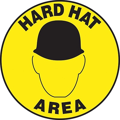 Accuform Signs® Slip-Gard™ HARD HAT AREA Round Floor Sign, Black/Yellow, 8Dia., 1/Pack (MFS234)