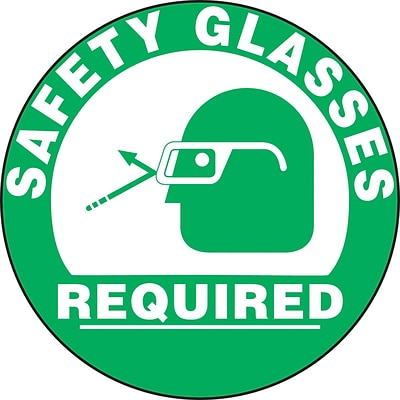 Accuform Signs® Slip-Gard™ SAFETY GLASSES REQUIRED Round Floor Sign, White/Green, 17Dia., 1/Pack