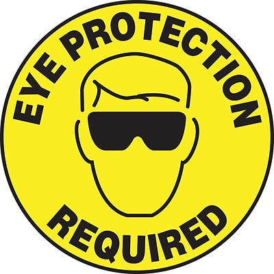 Accuform Signs® Slip-Gard™ EYE PROTECTION REQUIRED Round Floor Sign, Black/Yellow, 17Dia., 1/Pack