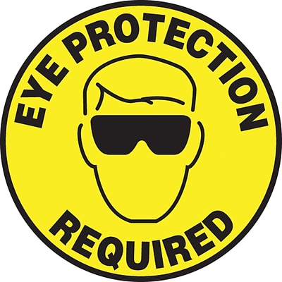 Accuform Signs® Slip-Gard™ EYE PROTECTION REQUIRED Round Floor Sign, Black/Yellow, 8Dia., 1/Pack