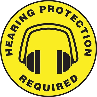 Accuform Signs® Slip-Gard™ HEARING PROTECTION REQUIRED Round Floor Sign, Black/Yellow, 17Dia., 1/Pk