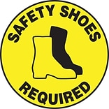 Accuform Signs® Slip-Gard™ SAFETY SHOES REQUIRED Round Floor Sign, Black/Yellow, 8Dia., 1/Pack