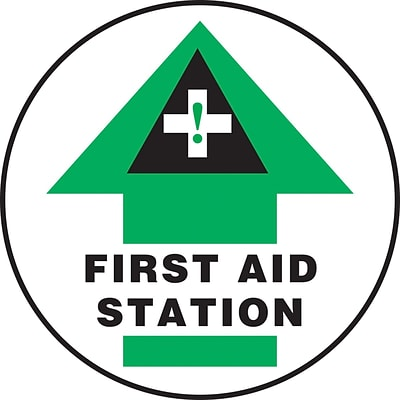 Accuform Signs® Slip-Gard™ FIRST AID STATION Round Floor Sign, Black/Green/White, 17Dia., 1/Pack (MFS2117)