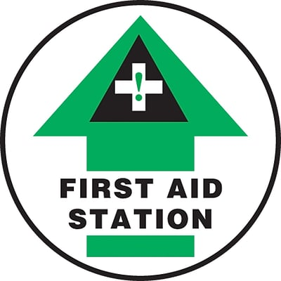 Accuform Signs® Slip-Gard™ FIRST AID STATION Round Floor Sign, Black/Green/White, 8Dia., 1/Pack