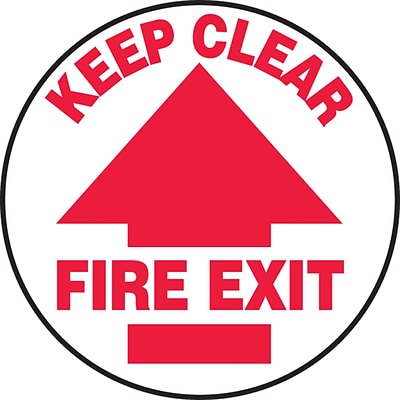 Accuform Signs® Slip-Gard™ KEEP CLEAR FIRE EXIT Round Floor Sign, Red/White, 8Dia., 1/Pack