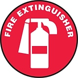 Accuform Signs® Slip-Gard™ FIRE EXTINGUISHER Round Floor Sign, White/Red, 8Dia., 1/Pack