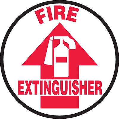 Accuform Signs® Slip-Gard™ FIRE EXTINGUISHER Round Floor Sign, Red/White, 8Dia., 1/Pack