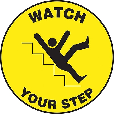 Accuform Signs® Slip-Gard™ WATCH YOUR STEP Round Floor Sign, Black/Yellow, 17Dia., 1/Pack (MFS709)