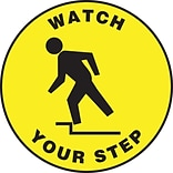 Accuform Signs® Slip-Gard™ WATCH YOUR STEP Round Floor Sign, Black/Yellow, 17Dia., 1/Pack (MFS1517)