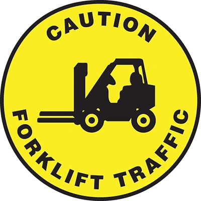 Accuform Signs® Slip-Gard™ CAUTION FORKLIFT TRAFFIC Round Floor Sign, Black/Yellow, 8Dia., 1/Pack