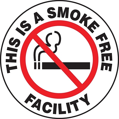 Accuform Signs® Slip-Gard™ THIS IS A SMOKE FREE FACILITY Round Floor Sign, Black/Red/White, 17Dia.
