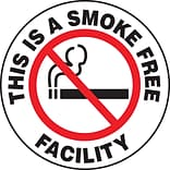 Accuform Signs® Slip-Gard™ THIS IS A SMOKE FREE FACILITY Round Floor Sign, Black/Red/White, 8Dia.