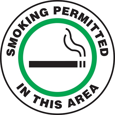 Accuform Signs® Slip-Gard™ SMOKING PERMITTED IN THIS AREA Round Floor Sign, Green, 17Dia., 1/Pack