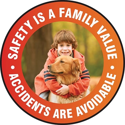 Accuform Signs® Slip-Gard™ SAFETY IS A FAMILY VALUE ACCIDENTS.. Round Floor Sign, White/Red, 8Dia.