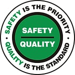 Accuform Signs® Slip-Gard™ SAFETY IS THE PRIORITY QUALITY..Round Floor Sign, BLK/Green/White, 8Dia.