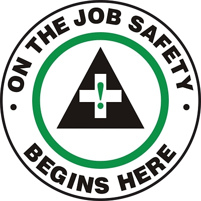 Accuform Signs® Slip-Gard™ ON THE JOB SAFETY BEGINS HERE Round Floor Sign, Black/Green/White, 17Dia