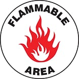Accuform Signs® Slip-Gard™ FLAMMABLE ARE Round Floor Sign, Black/Red/White, 8Dia., 1/Pack