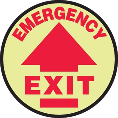 Accuform Signs® Slip-Gard™ EMERGENCY EXIT Round Floor Sign, Red/Yellow, 8Dia., 1/Pack
