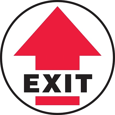 Accuform Signs® Slip-Gard™ EXIT Round Floor Sign, Black/Red/White, 8Dia., 1/Pack