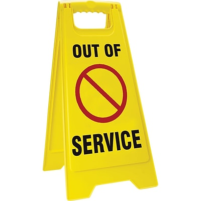 Accuform Signs® Slip-Gard™ OUT OF SERVICE 2 X Fold-Ups, Red/Black/Yellow, 25H x 12W, 1/Pack