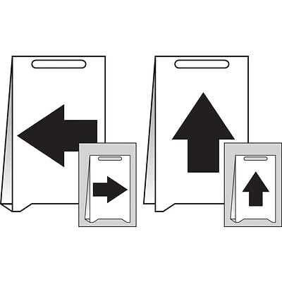 Accuform Signs® Slip-Gard™ Left/Right/Up Pictorial Reversible Fold-Ups, Black/White, 20H x 12W