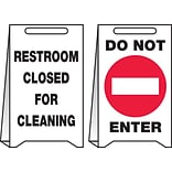 Accuform Signs® Slip-Gard™ RESTROOM CLOSED FOR CLEANING..Reversible Fold-Ups, Red/BLK/White, 20x12