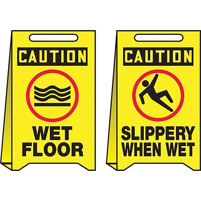 Accuform Signs® Slip-Gard™ CAUTION WET FLOOR/CAUTION..Reversible Fold-Ups, Red/Black/Yellow, 20x12