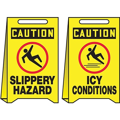 Accuform Signs® Slip-Gard™ CAUTION SLIPPERY HAZARD.. Reversible Fold-Ups, Red/Black/Yellow, 20x12