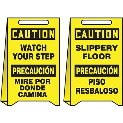 Accuform Signs® Slip-Gard™ CAUTION WATCH YOUR STEP... Reversible Fold-Ups, Black/Yellow, 20H x 12W