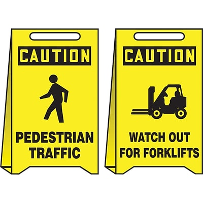 Accuform Signs® Slip-Gard™ CAUTION PEDESTRIAN TRAFFIC..Reversible Fold-Ups, Red/BLK/Yellow, 20x12