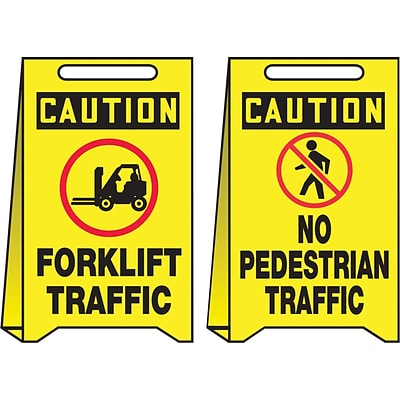 Accuform Signs® Slip-Gard™ CAUTION FORKLIFT TRAFFIC.. Reversible Fold-Ups, Red/Black/Yellow, 20x12