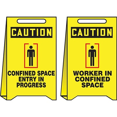 Accuform Signs® Slip-Gard™ CAUTION CONFINED SPACE ENTRY IN..Reversible Fold-Ups, RD/BLK/YLW, 20x12