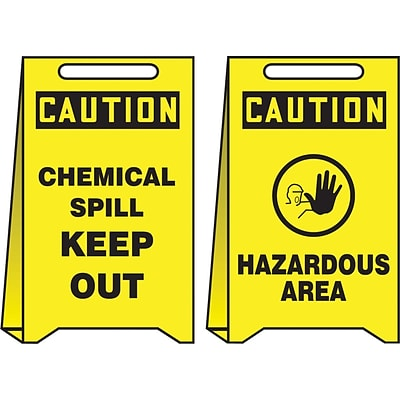 Accuform Signs® Slip-Gard™ CAUTION CHEMICAL SPILL KEEP OUT..Reversible Fold-Ups, RD/BLK/YLW, 20x12