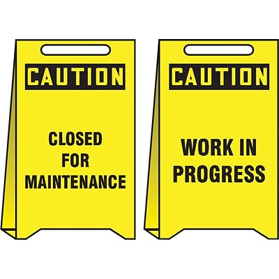Accuform Signs® Slip-Gard™ CAUTION CLOSED FOR MAINTENANCE..Reversible Fold-Ups, Red/BLK/YLW, 20x12